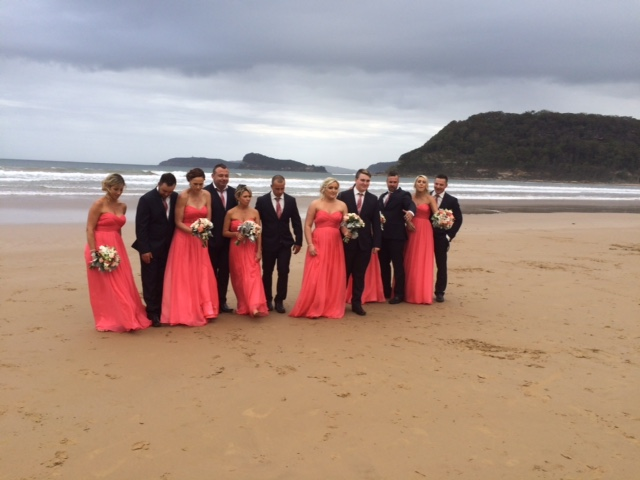 Dani and Luke's bridal party, Umina Beach